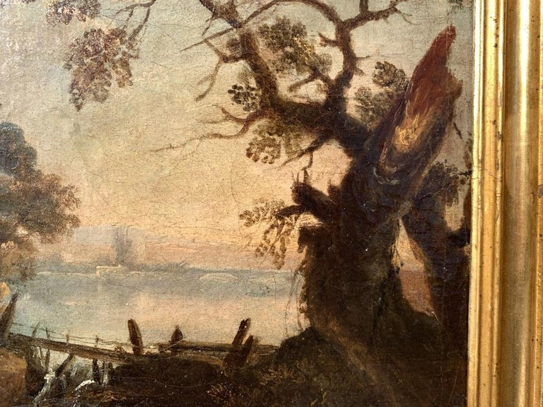 Pair of 18th century Venetian lanscape paintings - Zuccarelli - Oil on canvas For Sale 7