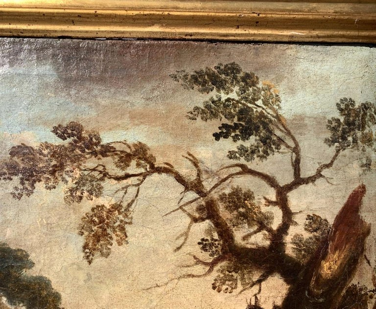 Pair of 18th century Venetian lanscape paintings - Zuccarelli - Oil on canvas For Sale 8