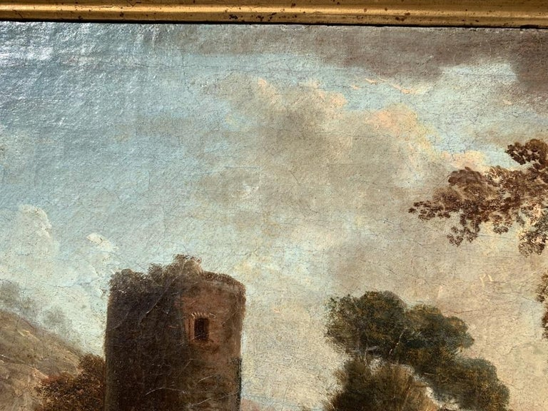 Pair of 18th century Venetian lanscape paintings - Zuccarelli - Oil on canvas For Sale 9