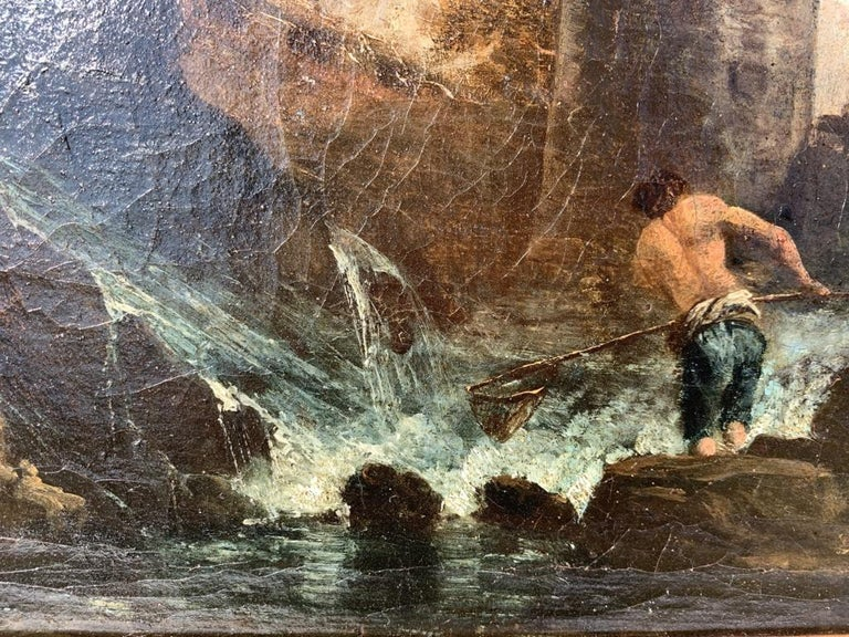 Pair of 18th century Venetian lanscape paintings - Zuccarelli - Oil on canvas For Sale 10