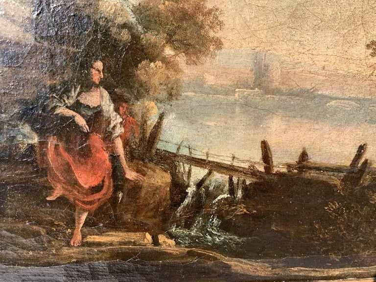 Pair of 18th century Venetian lanscape paintings - Zuccarelli - Oil on canvas For Sale 11