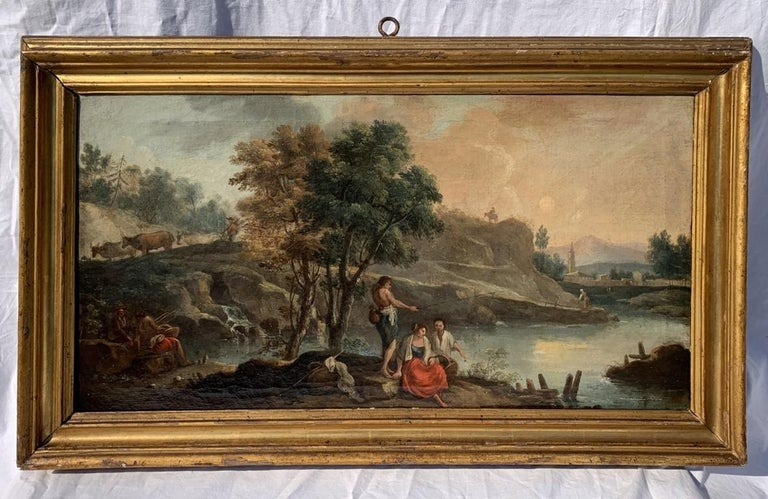 Pair of 18th century Venetian lanscape paintings - Zuccarelli - Oil on canvas - Painting by Francesco Zuccarelli