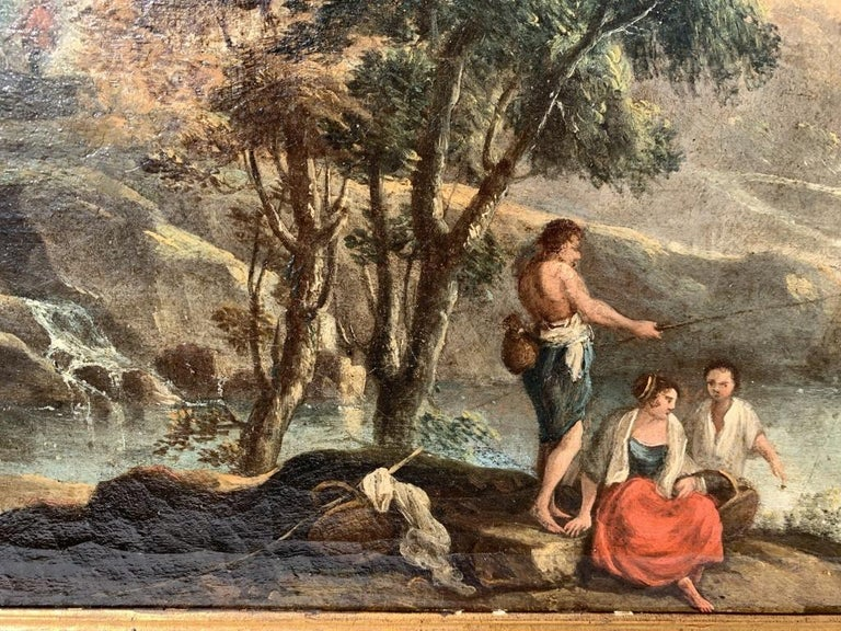 Pair of 18th century Venetian lanscape paintings - Zuccarelli - Oil on canvas - Rococo Painting by Francesco Zuccarelli