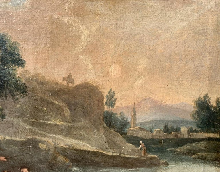 Pair of 18th century Venetian lanscape paintings - Zuccarelli - Oil on canvas - Brown Figurative Painting by Francesco Zuccarelli