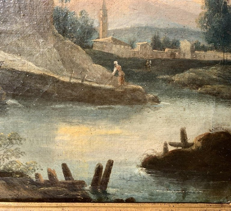 """Workshop of Francesco Zuccarelli (Pitigliano 1702 - Florence 1788) - """"Arcadian landscape with fishermen by the river"""" and """"Arcadian landscape with fishermen and tower"""".   34 x 63 cm without frame, 45 x 74 cm with frame.   Oil on canvas, in antique"""