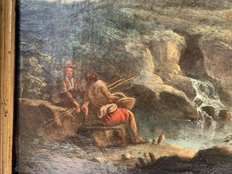 Pair of 18th century Venetian lanscape paintings - Zuccarelli - Oil on canvas For Sale 1