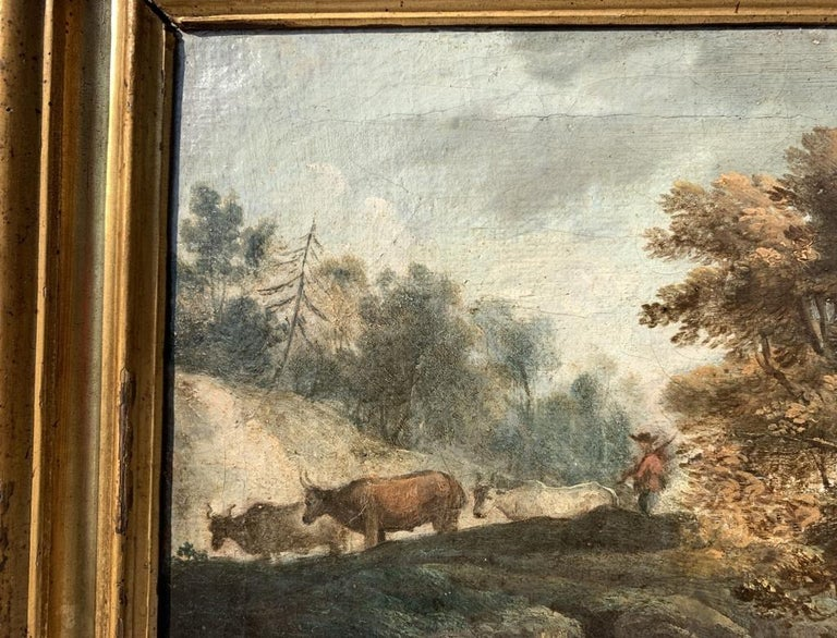 Pair of 18th century Venetian lanscape paintings - Zuccarelli - Oil on canvas For Sale 2