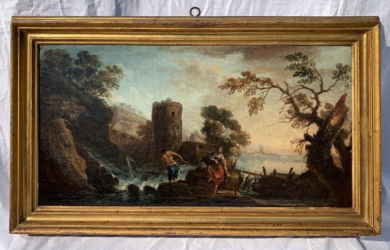 Pair of 18th century Venetian lanscape paintings - Zuccarelli - Oil on canvas For Sale 4