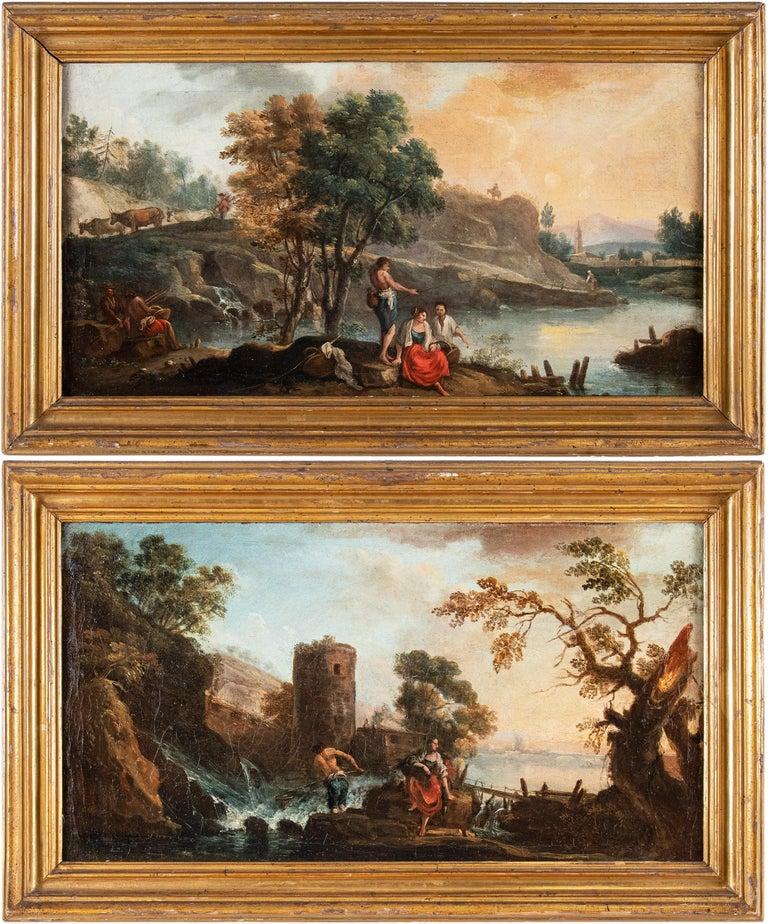 Francesco Zuccarelli Figurative Painting - Pair of 18th century Venetian lanscape paintings - Zuccarelli - Oil on canvas