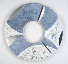 Convex #29, blue and white mixed media painting on aluminum, abstract