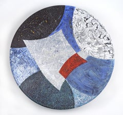 Vessel M, red, white and blue mixed media painting on plexiglass, abstract