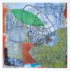 Confluence #14, small mixed media work on paper, multicolored and silver