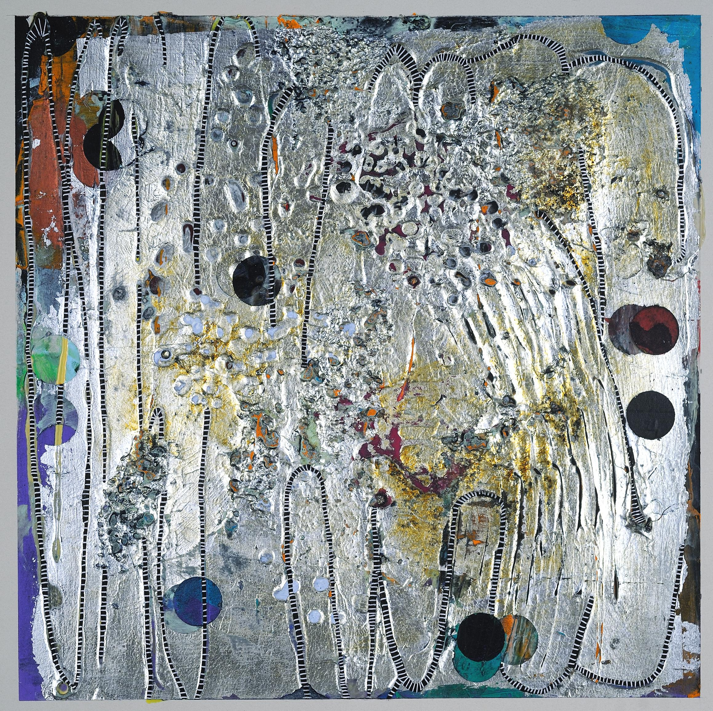 Confluence #3, small abstract work on paper, multicolored and silver