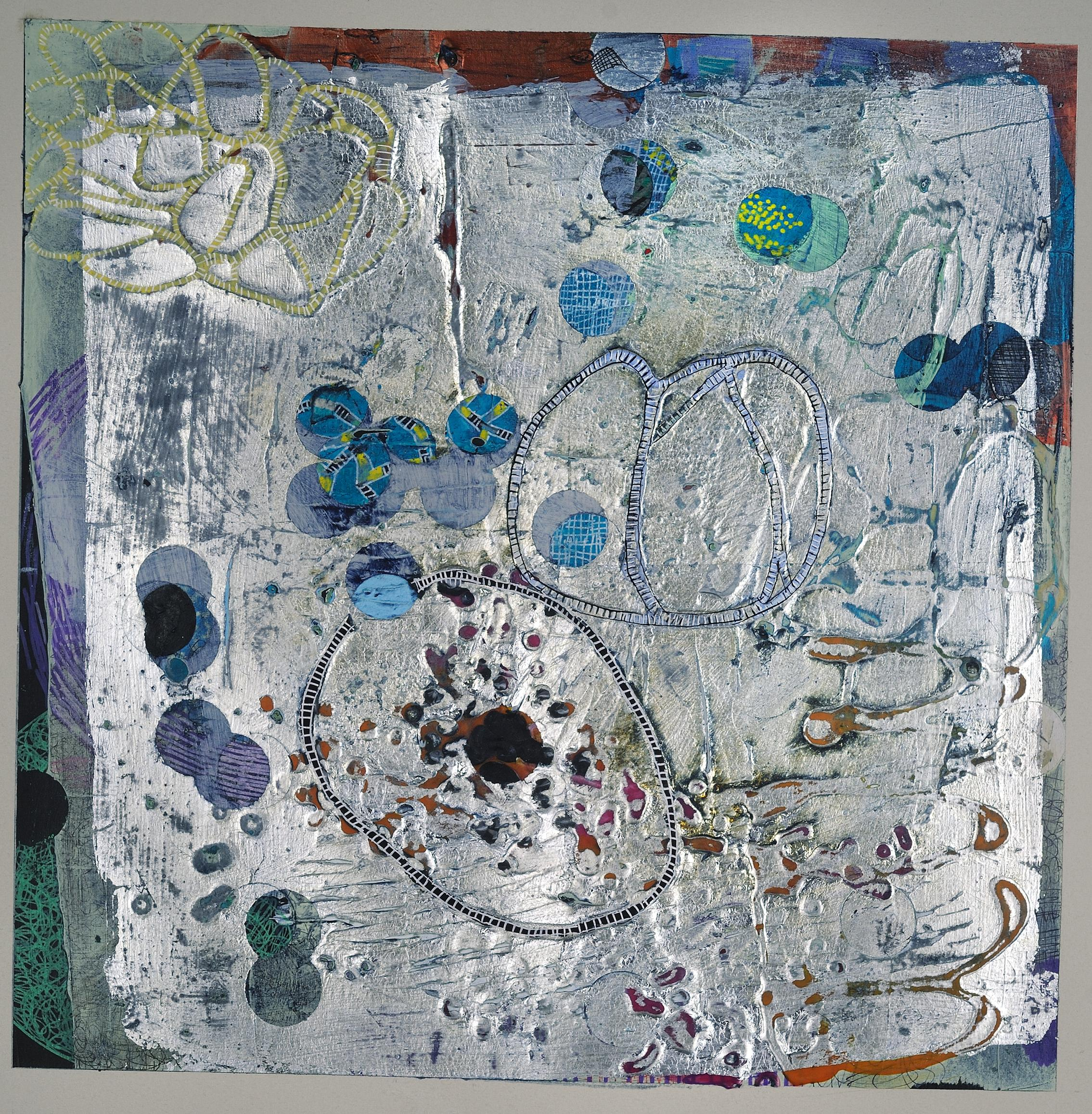 Confluence #4, small abstract work on paper, multicolored and silver
