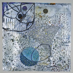 Confluence #8, small abstract work on paper, blue and silver