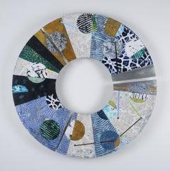"Convex #33, mixed media abstract painting on aluminum, three piece circle, 29"""
