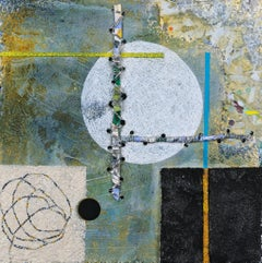 Crossing Lines #1, abstract mixed media painting on aluminum panel, earth tones