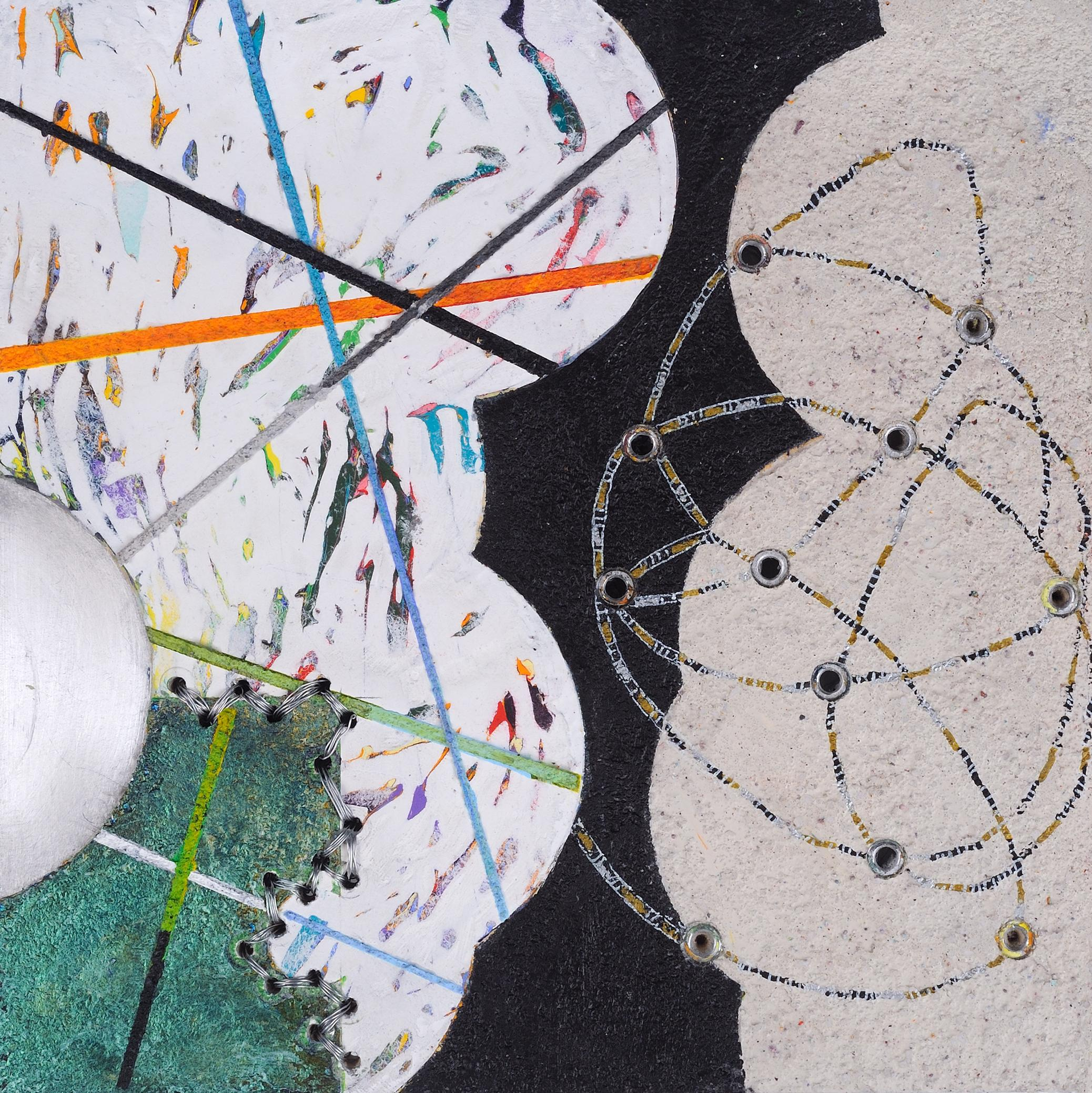 Crossing Lines #10, abstract mixed media painting on aluminum, black and white