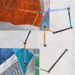 Crossing Lines #11, abstract mixed media painting on aluminum, red and white