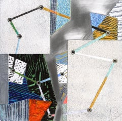 Crossing Lines #12, abstract mixed media painting on aluminum, multicolored
