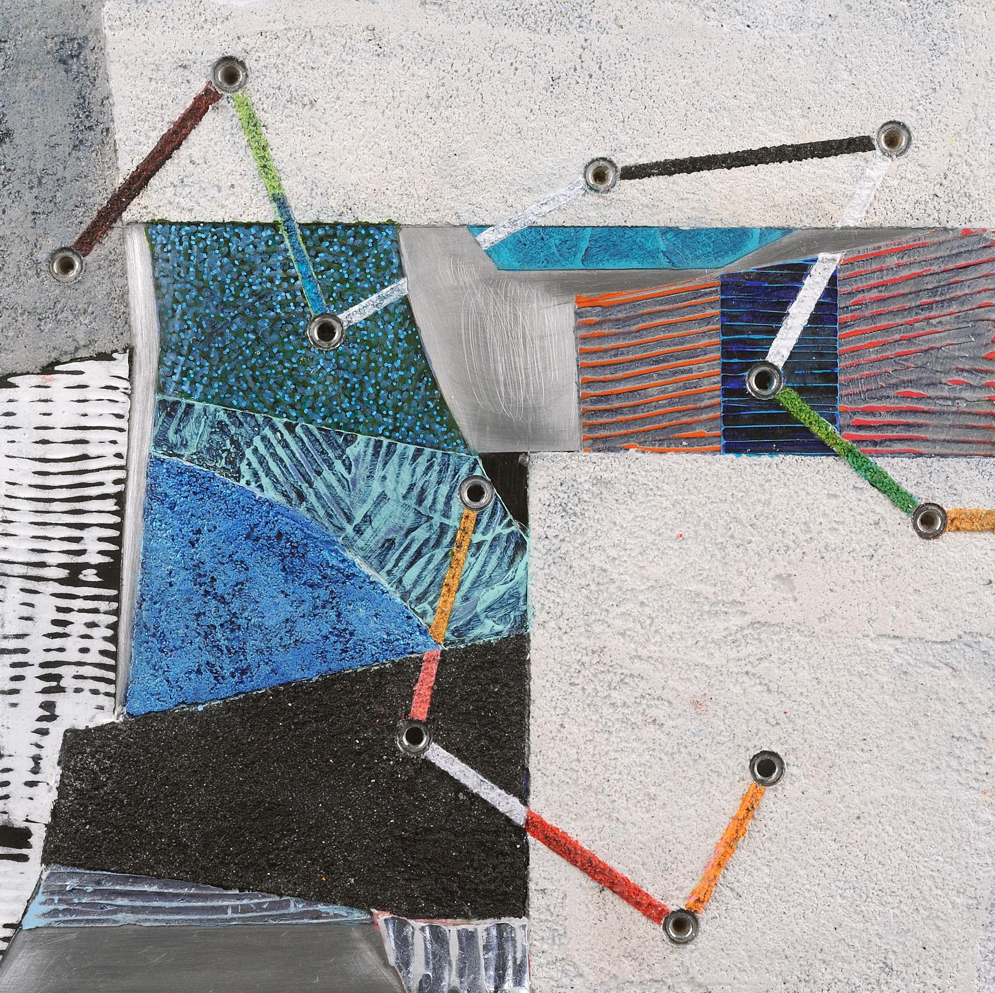 Crossing Lines #14, abstract mixed media painting on aluminum, blue and white