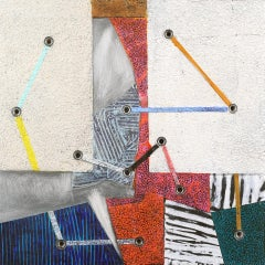 Crossing Lines #15, abstract mixed media painting on aluminum, multicolored