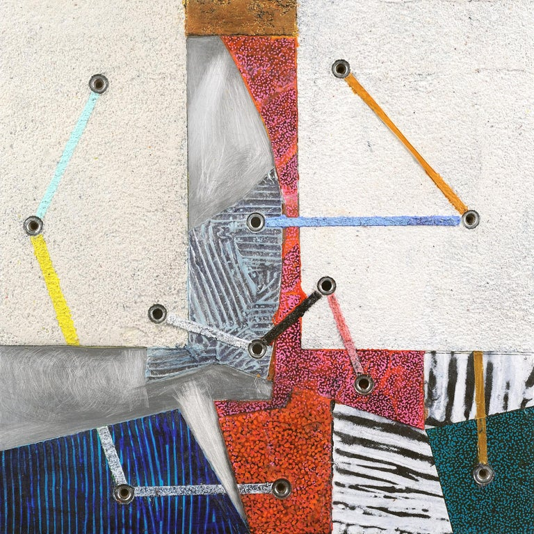 Francie Hester Abstract Painting - Crossing Lines #15, abstract mixed media painting on aluminum, multicolored