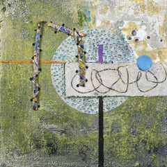 Crossing Lines #2, abstract mixed media painting on aluminum panel, green