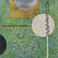 Crossing Lines #5, abstract mixed media painting on aluminum panel, green tones
