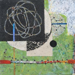 Crossing Lines #6, abstract mixed media painting on aluminum panel, green tones