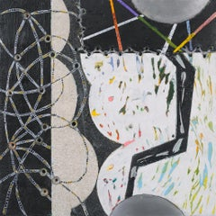 Crossing Lines #8, abstract mixed media painting on aluminum, black and white