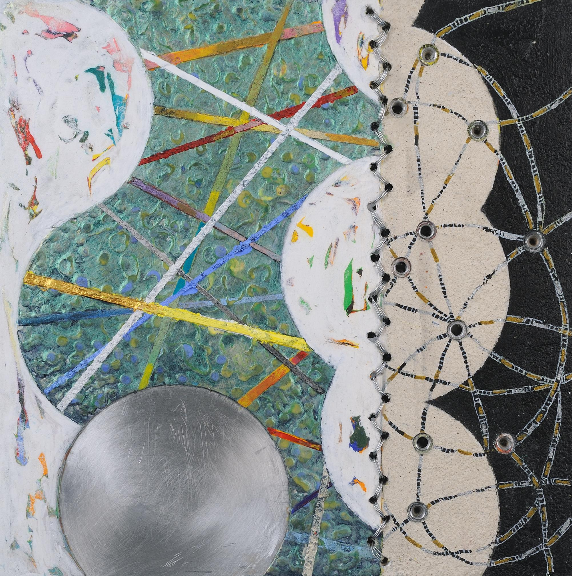 Crossing Lines #9, abstract mixed media painting on aluminum, neutral tones