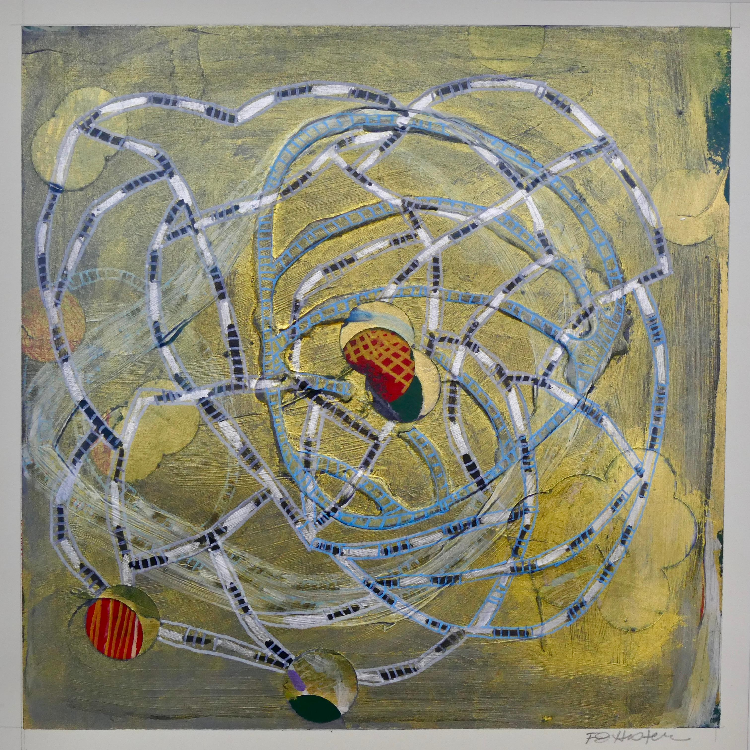 Intertwined 20-2, small mixed media work on paper, yellow and silver