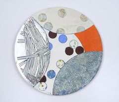 Portal #1, silver and orange mixed media painting on aluminum