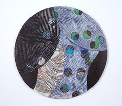 Portal #3, black and blue mixed media painting on aluminum