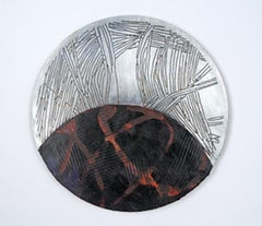 Portal #6, silver and black mixed media painting on aluminum