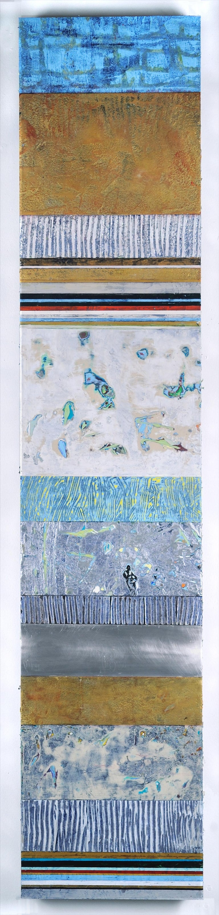 Francie Hester Abstract Painting - Strata 19-2, multicolored mixed media sculptural piece on aluminum