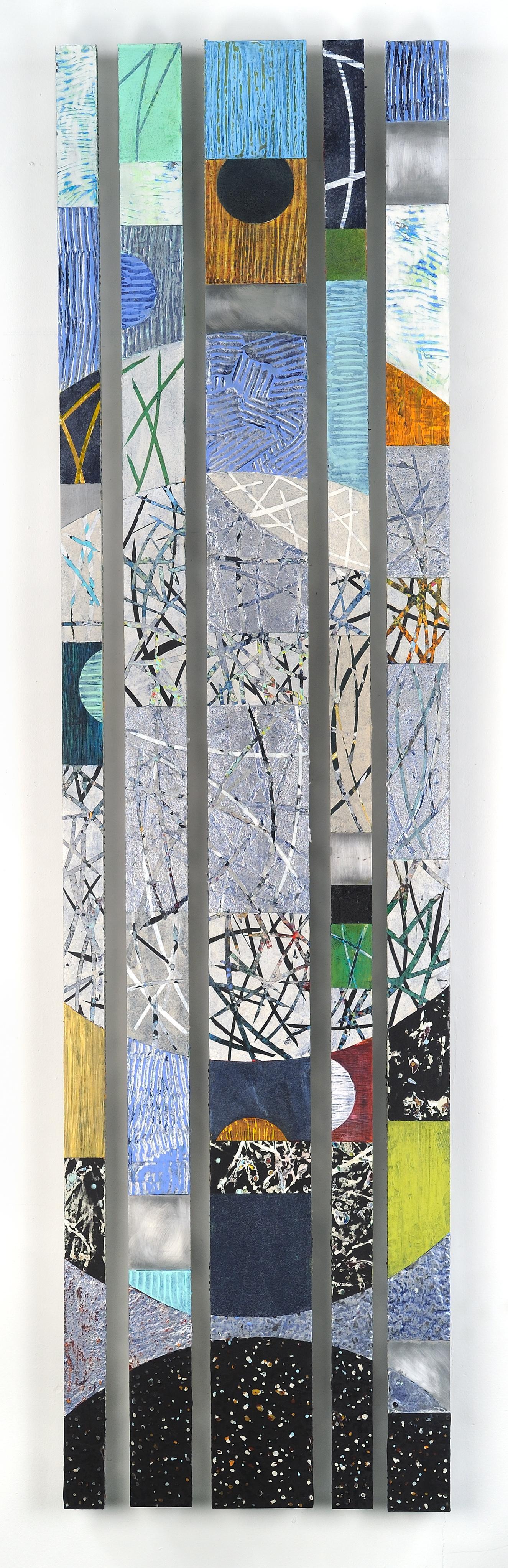 Strata 20-1, multicolored mixed media sculptural piece on aluminum