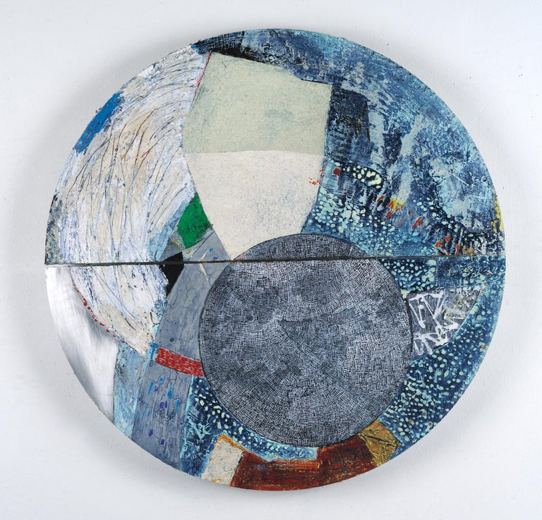 Francie Hester Abstract Sculpture - Unfolding J, blue abstract painting on aluminum, mixed media