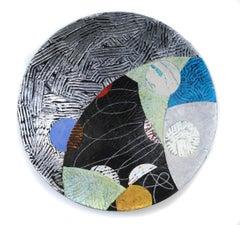 "Vessel #2, multicolored mixed media sculptural piece, textured, 22"" diameter"