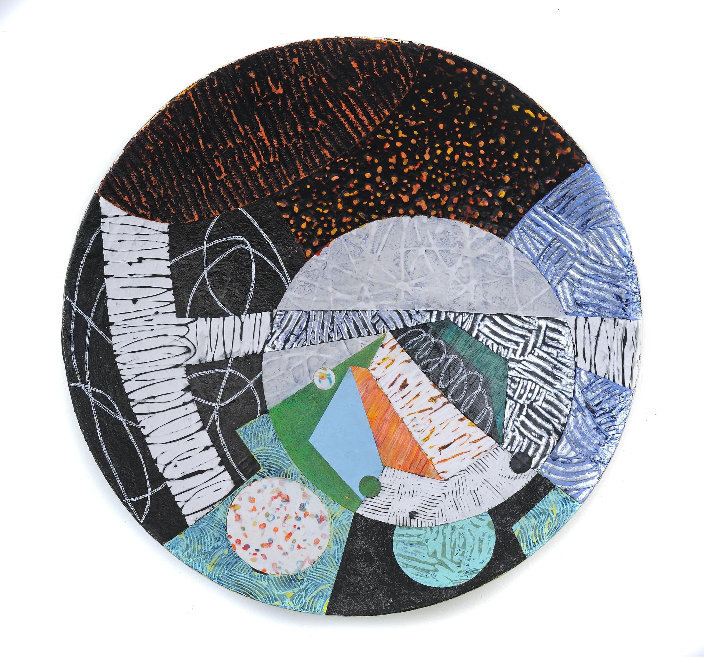 "Vessel #3, multicolored mixed media sculptural piece, textured, 22"" diameter"