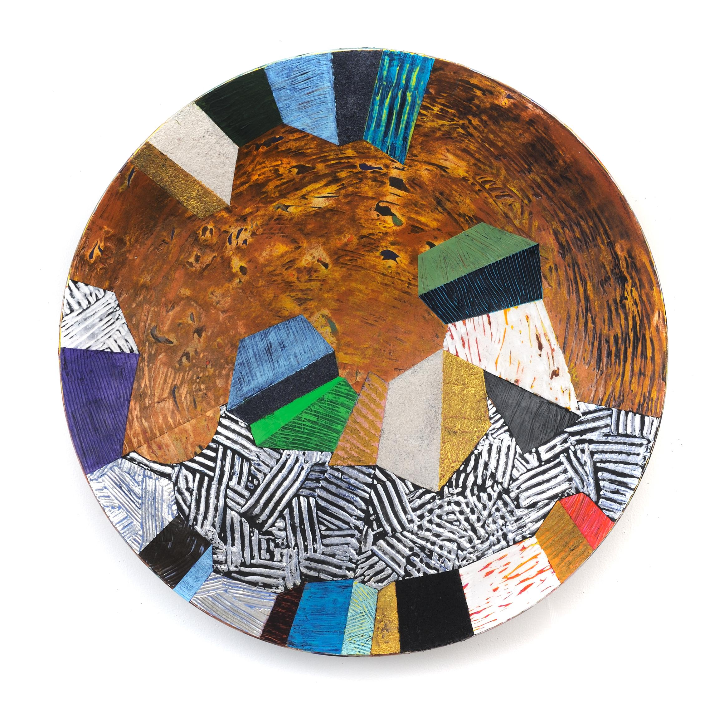 "Vessel #4, multicolored mixed media sculptural piece, textured, 22"" diameter"