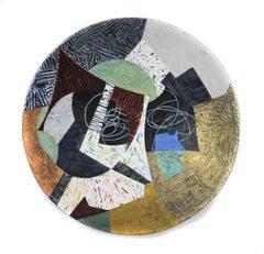 "Vessel #5, black and gold mixed media sculptural piece, textured, 22"" diameter"
