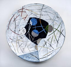 "Vessel A-20, neutral mixed media sculptural piece, 29"" diameter"