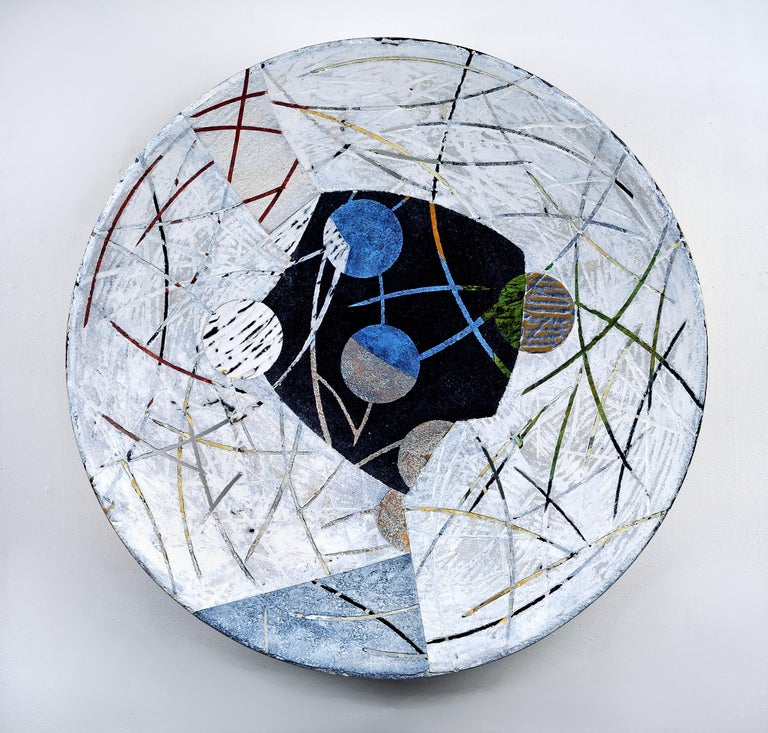 "Francie Hester Abstract Painting - Vessel A-20, neutral mixed media sculptural piece, 29"" diameter"