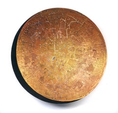 """Vessel A-21, warm copper mixed media sculptural piece, textured, 36"""" diameter"""