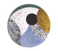 "Vessel B-21, multicolored mixed media sculptural piece, textured, 29"" diameter"