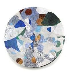 "Vessel C-21, blue and green mixed media sculptural piece, textured, 36"" diameter"