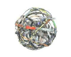Cluster #1, mixed media aluminum sculpture, multicolored sphere