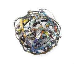 Cluster #2, mixed media aluminum sculpture, multicolored sphere